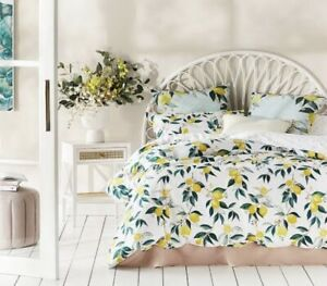 Adairs Metro Summer Lemons Yellow Quilt Cover Set King Size - Bright & Vibrant
