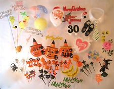 VTG 88 PC LOT CAKE CUPCAKE DECORATING HALLOWEEN CHRISTMAS EASTER CANDLE HOLDERS