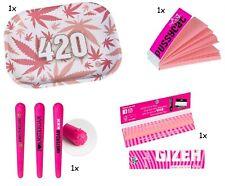 Geschenkset DrehTablett Rolling Tray Gizeh King Size Tips Joint Tube pink Drehen