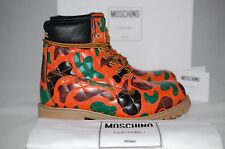 MOSCHINO Orange Camo-Print Quilted Leather Utility Moto Woman Boot Shoes 8 US 38