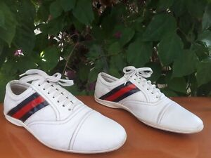 GUCCI Guccissima GG Monogram Sneakers Leather Shoes Mens Size US 8 EU 41E