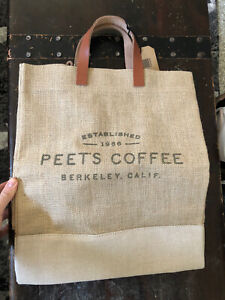 Peets Coffee Peetniks Burlap Tote Bag. New With Tags. Limited Edition. Great!!!!