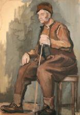 Antique Bulgarian impressionism portrait oil painting