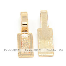 Rectangle Nickel Lead Free Unfading Golden Alloy Glue-on Flat Pad Bails 26x8x7mm