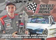 """SIGNED 2019 ROBERT NOAKER """"YOUNGEST RACE WIN"""" #13 MAZDA MX-5 CUP SERIES POSTCARD"""
