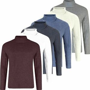 New Mens Turtleneck Top Jumper Thin Pullover Knit Polo Roll Neck Knit Top S-XL