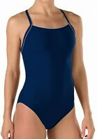 Speedo Navy Blue Women's Size 12 One-Piece Open-Back Solid Swimwear $69 #231