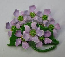 Vintage Green Enamel Lily Pad Brooch With Purple Water Lilies - Flowers