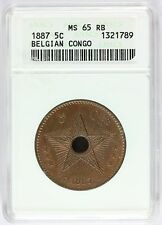 1887 Belgian Congo 5 Centimes Copper Coin - ANACS MS 65 RB - KM# 3