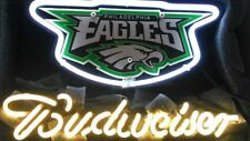Rare Nfl Philadelphia Eagles Budweiser Bud Light Beer Bar Real Neon Sign