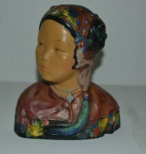 "1920s chalkware bust of ""oriental"" girl a la Esther Hunt"