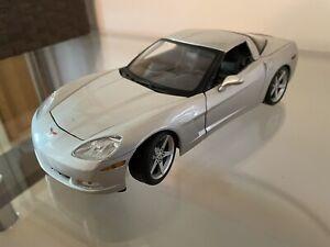 Maisto 2005 Chevrolet Corvette, Silver, 1/18 Die Cast, Excellent Condition