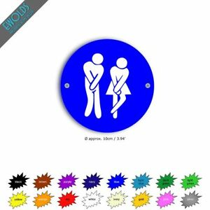 """Unisex Toilet Sign """"Impatient"""" 10cm dia in 16x16 colours avail"""