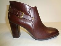 Nine West Size 10.5 M EFFIA Dark Brown Leather Ankle Boots New Womens Shoes