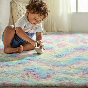 Kids Rainbow Rugs Bedroom Girls Boys Floor Living Room Soft Nursery Mat Carpets