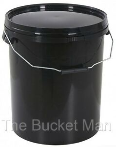 20 L Ltr Litre Black Plastic Bucket Container with Lid and Metal Handle FoodSafe