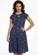 EX-Lindy Bop Juliet Navy Cherry Dress FACTORY SECONDS - SIZE 26