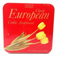 Red Tivoli Classic European Cookie Assortment Tin w/ Tulip Collectible Container