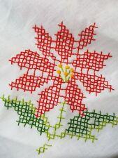 Poinsettia Christmas Holiday Oblong 57 x 101 Tablecloth Handmade Cross Stitch