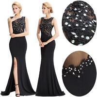 Long Bridesmaid Formal Evening Prom Dress BEAD Party Cocktail Ball Gown Banquet