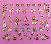 Christmas GOLD Snowflakes Snowman Gifts Stars Bells 3D Nail Art Stickers Decals