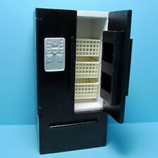 Dollhouse Miniature Kitchen Modern Refrigerator with French Doors Black ~ T4755