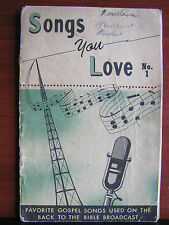 Songs You Love No 1- gospel songs music 1955 PB - Back to the Bible Broadcast