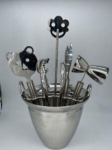 WMF Cromargan German Design Whimsical Faces Stainless Steel 8-Piece Bar Set