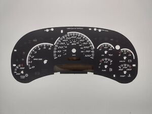 US Speedo SS Black Gauge Face Overlay for GM Clusters 03-05 2500 Gas LED Edition