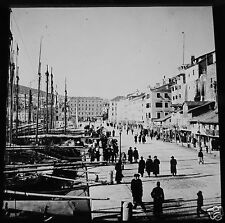 Glass Magic lantern Slide SPLIT MARINA C1900 CROATIA HARBOUR FISHING BOATS