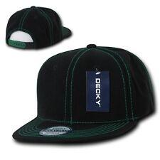 Black & Green Contra Stitch Plain Blank Solid Snapback Classic Flat Bill Hat Cap