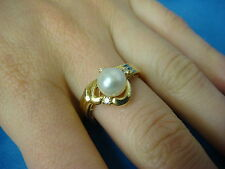 18K GOLD PEARL AND DIAMONDS LADIES RING, 5.4 GRAMS, SIZE 8, GENUINE PEARL