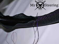 FOR WOLSELEY 1500 57-65 PERFORATED LEATHER STEERING WHEEL COVER PURPLE DOUBLE ST