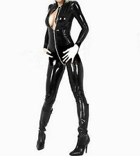 Latex Look Catsuit / Jumpsuit Crotch Zip Long Sleeves High Neck