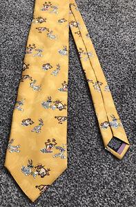 Looney Tunes 100% silk gold Taz Bugs Bunny character themed novelty tie