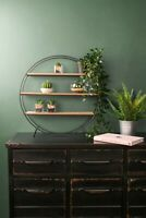 Retro Industrial Style Circle Shelf Shelving Unit Metal Wood Storage Vintage