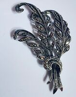 Sterling Silver Marcasite 1950s Brooch 5 Cm
