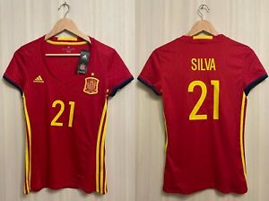 womens Spain #21 Silva 2016/2017 Home Size S Adidas shirt jersey maillot ladies