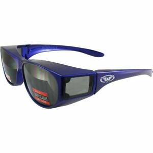 Global Vision PHD Wrap Around Safety Glasses Blue Frames Blue Lens ANSI Z87.1
