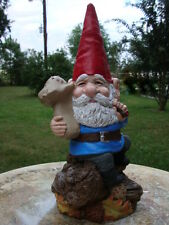 #2 PAPA GNOME SMOKING PIPE WITH MUSHROOM CEMENT STATUE, HAND PAINTED