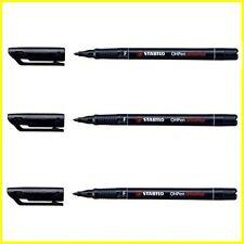 3 x Stabilo OH Pen Permanent Marker Pen Fineliner Color Black - Fine Line/Width