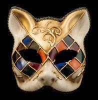 Maschera Gatto Veneziano Carnevale Venezia-Mosaico Tutti Fruiti Oro -1954-V83B