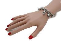 Women Silver Metal Chain Goth Fashion Skull Wrist Bracelet Skeleton Biker Unisex
