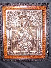 Rare OOAK Stunning VTG Framed & Matted Metallic Relief Virgin Mary Icon 1920