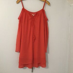 Double Zero Dress Women's Size L Orange Cut Out Shoulder Long Sleeve Waist Tie