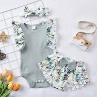 3PCS Newborn Infant Baby Girls Solid Romper Bodytsuit+Floral Print Shorts Set