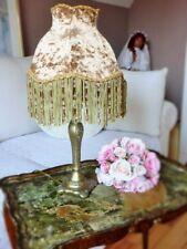 Tischlampe Antik Gold Fransen Perlen Borte Samt H47cm Papyrus Nostalgie  E14