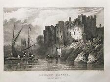 1831 Antique Print; Ludlow Castle, Shropshire after Calvert
