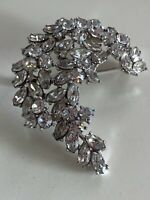 CROWN TRIFARI Alfred PHILIPPE VINTAGE Clear Rhinestone Crescent Brooch Pin