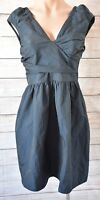 CUE Dress Sz 8 Small Black Navy Skater Fit Flare Dress